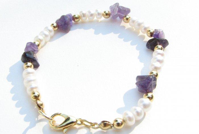Freshwater Pearl Amethyst Chip Handmade Artisan Bracelet