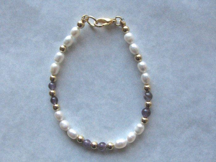 Freshwater Pearl Amethyst Rounds Handmade Artisan Bracelet