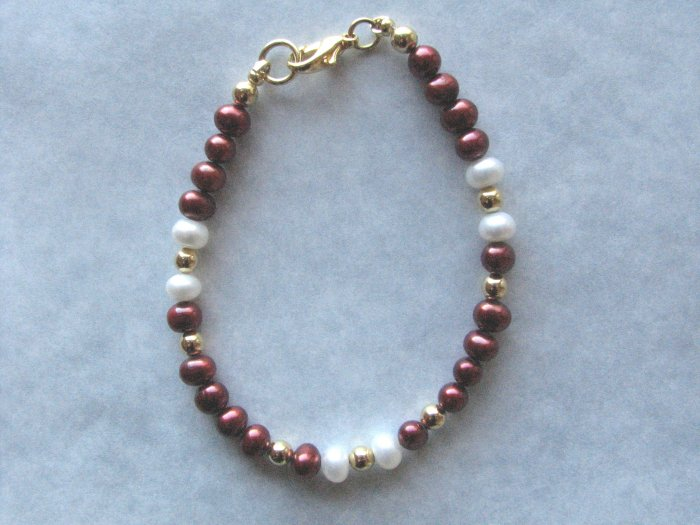 Cranberry  Maroon and White Freshwater Pearl Handmade Artisan Bracelet