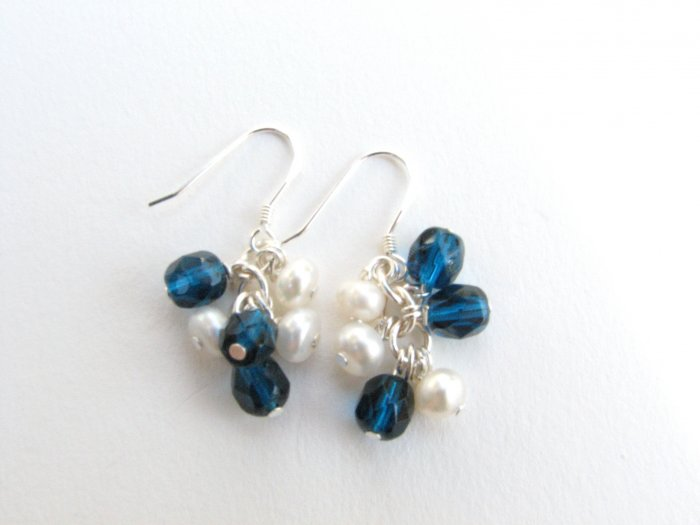 Freshwater Pearl and Blue Glass Handmade Cluster Earrings Sterling Wires