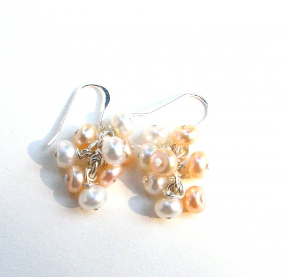 Peaches and Cream Freshwater Pearl Cluster Handmade Artisan Earrings Sterling Silver Wires