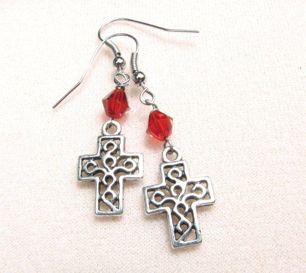 Cross Dangle Handmade Earrings with Red Crystal