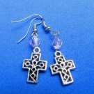 Cross Dangle Handmade Earrings with Pink Crystal