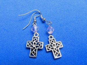 Cross Dangle Handmade Earrings with Pink Crystal