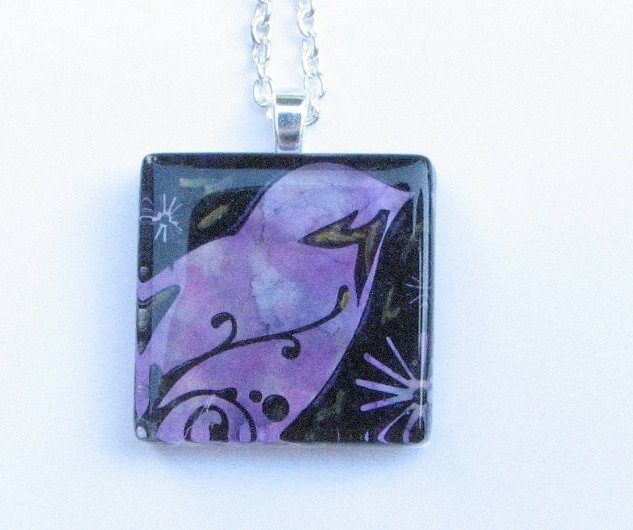 Purple Blue Black Bird Handmade Glass Tile Pendant