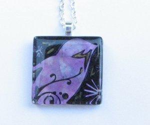 Purple Blue Black Bird Handmade Glass Tile Pendant