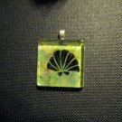 Seashell on Ocean Colors Handmade Glass TIle Pendant