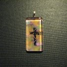 Cross on Multi Color Background Handmade Glass TIle Pendant