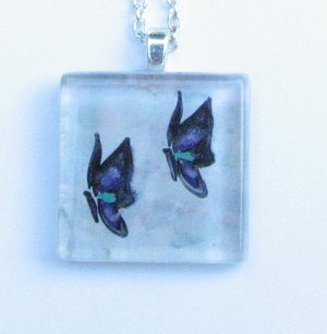 Two Butterflies Handmade Glass Tile Pendant with Purple, Green, Blue