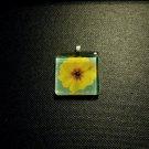 Yellow Primrose Blue Green Background Handmade Glass Tile Pendant