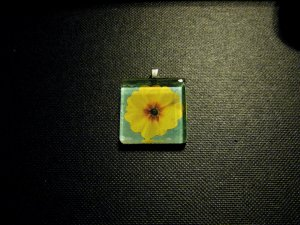 Yellow Primrose Blue Green Background Handmade Glass Tile Pendant