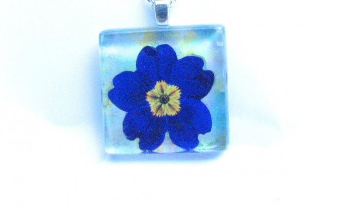 Purple Blue Primrose on Blue Green Background Handmade Glass Tile Pendant