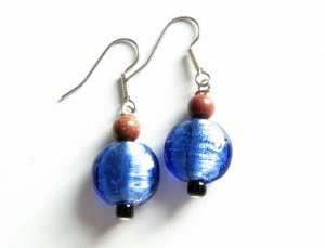 Simply Blue with Goldstone and a Touch of Black Glass Handmade Artisan Earrings