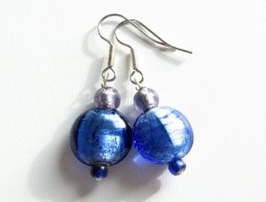 Simply Blue with a Touch of Purple Glass Handmade Artisan  Earrings