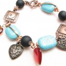 Copper and Turquoise Handmade Charm Bracelet with  Hearts