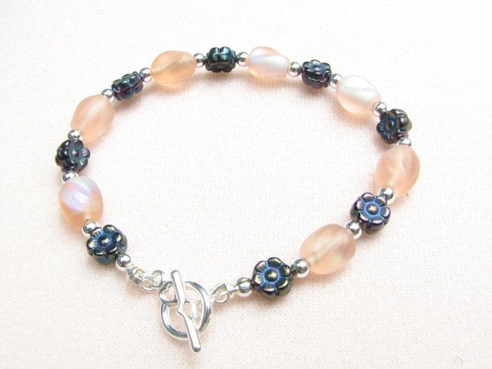 Peach Handmade Bracelet with Black Flowers