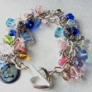 Flowers and Butterflies Multicolor Charm  Handmade Bracelet