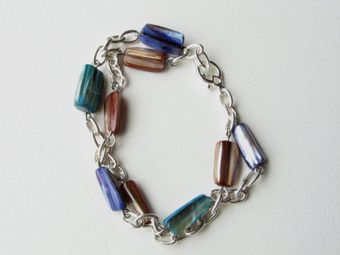 Mother of Pearl Handmade Bracelet in Turquoise Purple Brown
