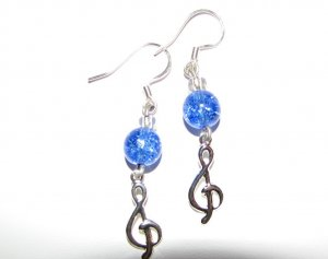 Treble Clef with Blue Crackle Glass Handmade Earrings