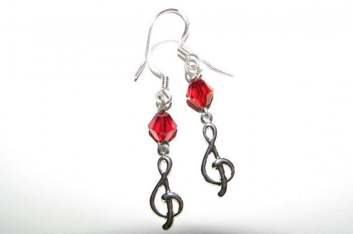Treble Clef with Red Crystal Handmade Earrings