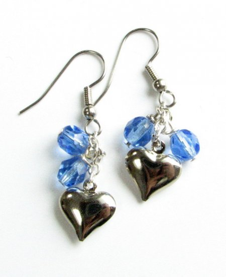 Puffed Heart Drop Handmade Earrings with Blue  Beads