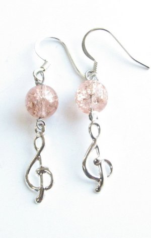 Treble Clef with Pink Crackle Glass Handmade Earrings