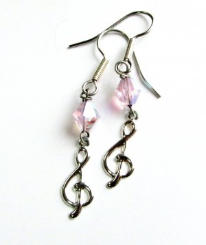 Treble Clef with Pink Crystal Handmade Earrings