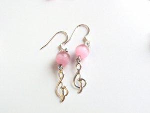 Treble Clef with Pink Cats Eye Bead Handmade Earrings