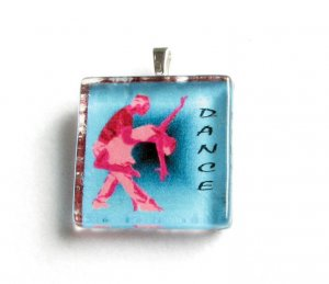 Ballroom Dance Salsa Couple  Handmade Glass Tile Pendant