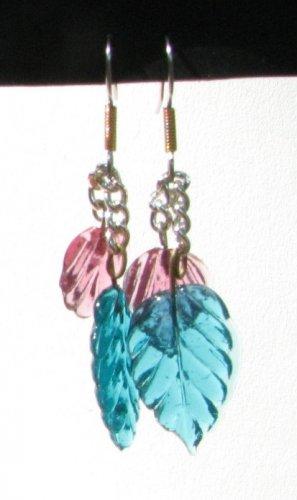 Glass Leaf Handmade Earrings with Aqua and Pink