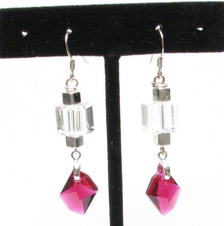 Ruby Red Swarovski Drop Handmade Earrings Sterling Wires