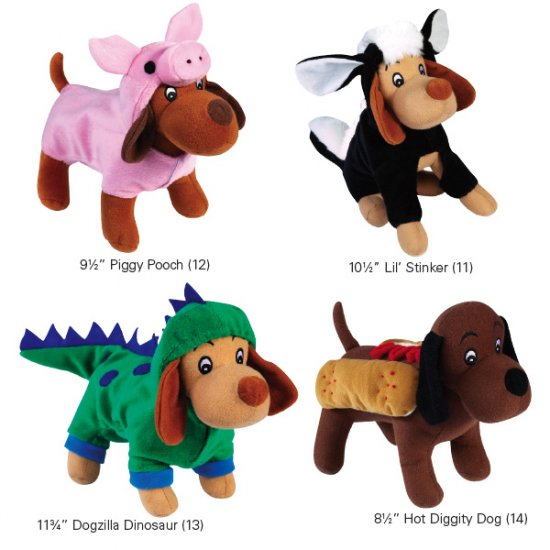 Set of 4 Zanies Halloween Costume Squeaky Toys Lil� Stinker Piggy Pooch Dogzilla Hot Diggity Dog