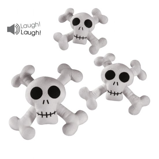 Set of 3 Zanies Kooky Spooky Skull & Cross Bones Laughing Plush Dog Toy - Small, Medium & Large