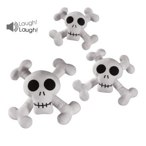 Set of 3 Zanies Kooky Spooky Skull & Cross Bones Laughing Plush Dog Toy - Small, Medium & Large