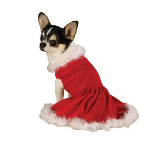 X-SMALL Mrs. Claus Pet Halloween Dog Dress Costume Christmas