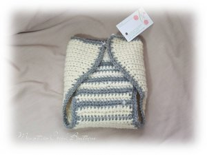Wool Cloth Diaper Cover Soaker Wrap White/Grey