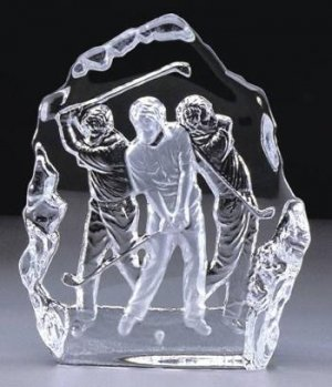 Crystal Golfer Sculpture