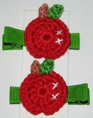 Pair Of Crocheted Red Apple Hair Clips For Baby/Toddler
