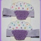 Pair Of Crocheted Purple Cupcake Hair Clips For Baby/Toddler