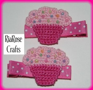 Pair Of Crocheted Pink/Light Pink Top Cupcake Hair Clips For Baby/Toddler