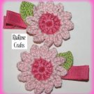 Pair Crocheted Pink Daisy Flower Hair Alligator Clips For Baby/Toddler