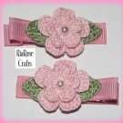 Pair Crocheted Pastel Pink Flower Hair Alligator Clips For Baby/Toddler