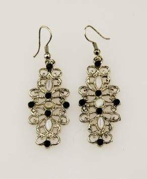 Elegant Black and Silver Alloy Fashion Earrings