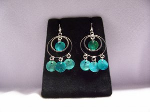 Silver Alloy Aqua Hoop Dreamcatcher Fashion Earrings