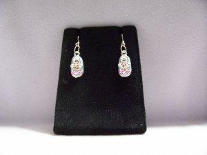 Cute Silver Alloy Blue Pink Shoe Fashion Earrings