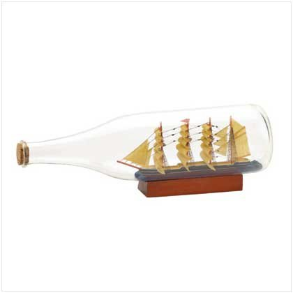 Tall Ship in a Bottle With American Flag