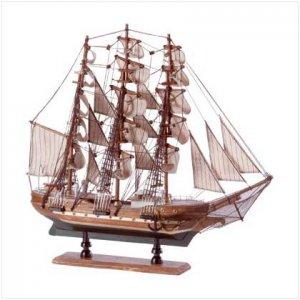 Wood Model Schooner on Base