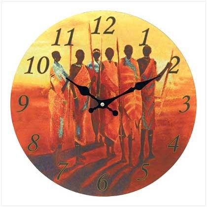 Masai Hunters Wall Clock