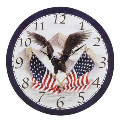 Wood Eagle and Flag Clock