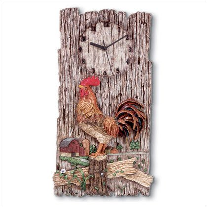Rooster Plaque With Clock